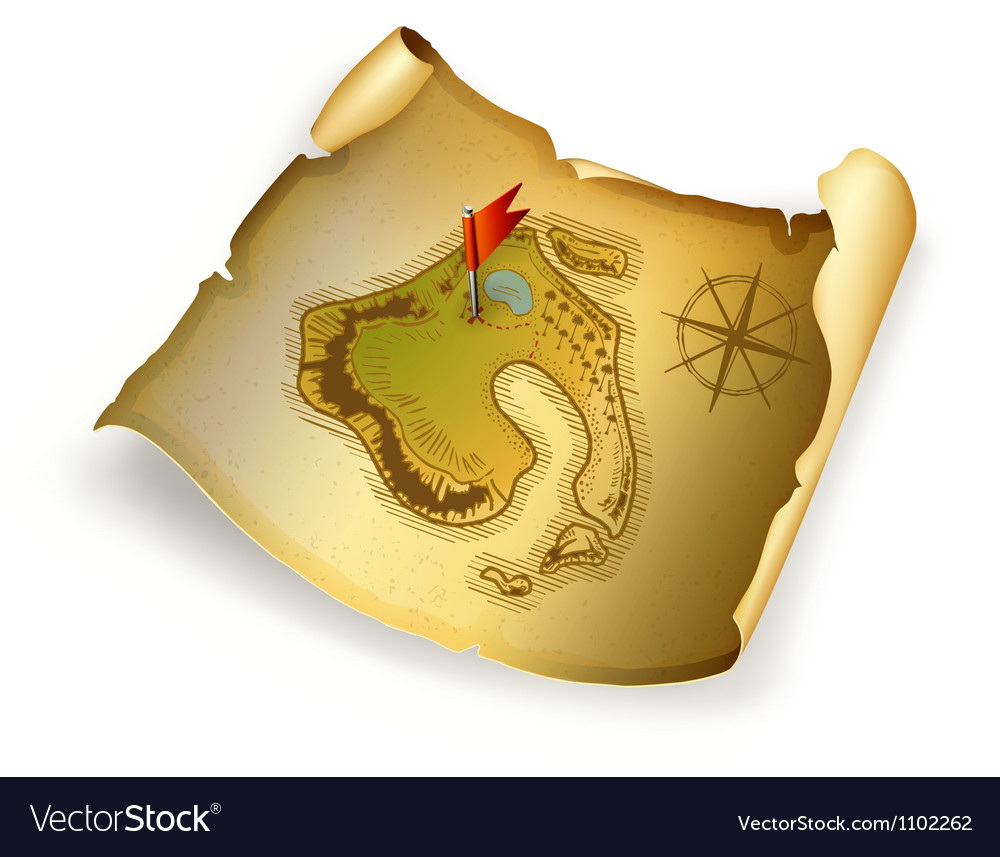 Old treasure map vector | Price: 1 Credit (USD $1)