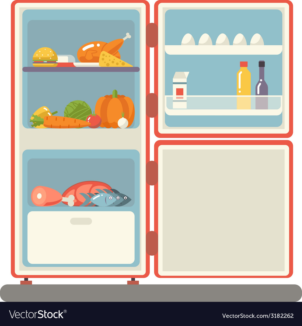 Outdoor refrigerator with food products icon vector | Price: 1 Credit (USD $1)