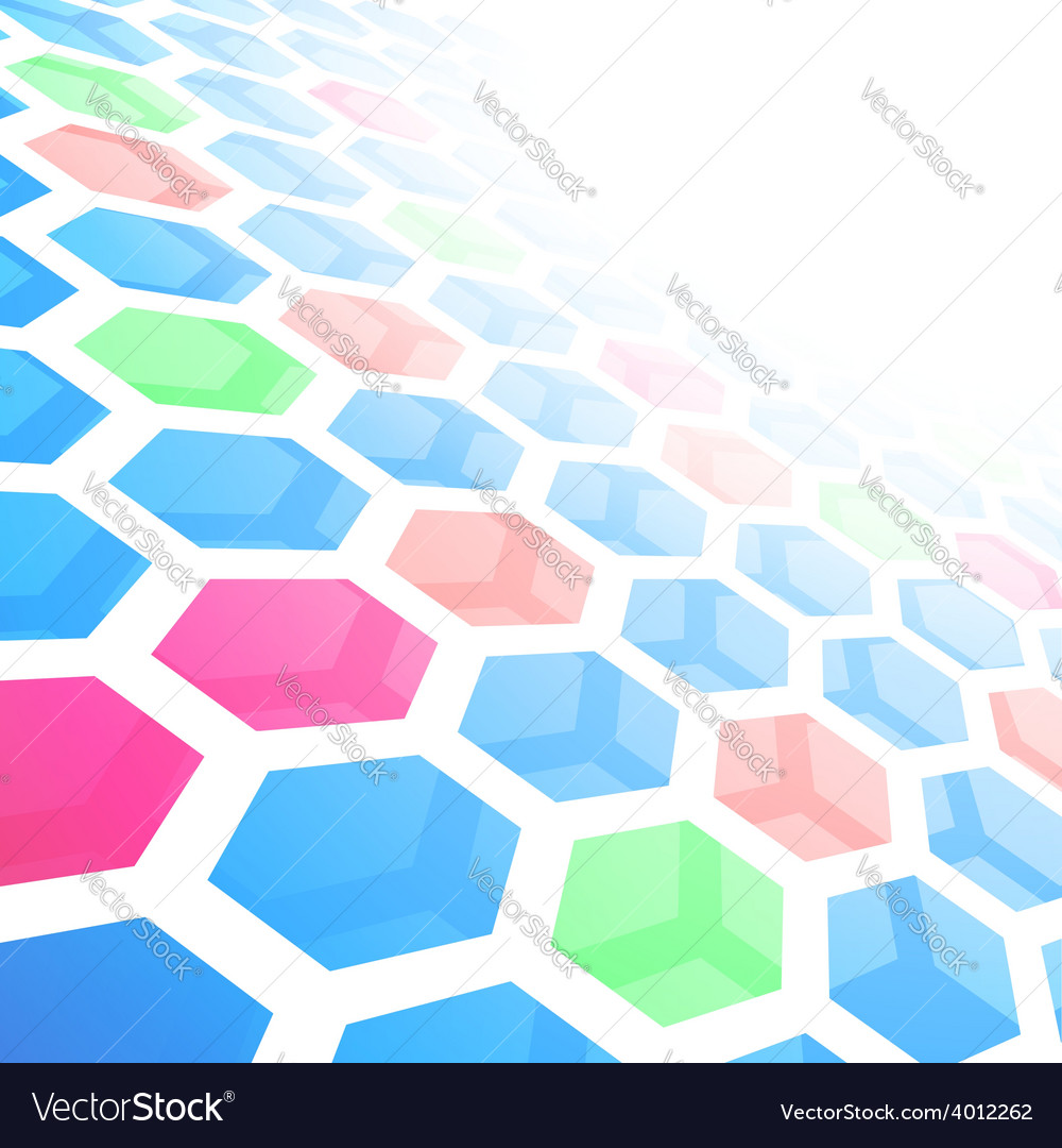Perspective hexagon abstract tile background vector | Price: 1 Credit (USD $1)