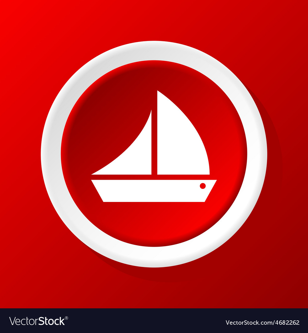 Sailing ship icon on red vector | Price: 1 Credit (USD $1)