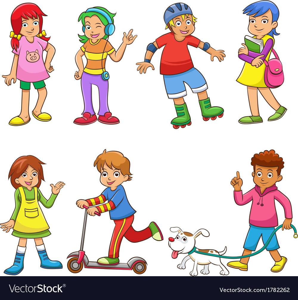 Set of happy cartoon kids vector   Price: 1 Credit (USD $1)