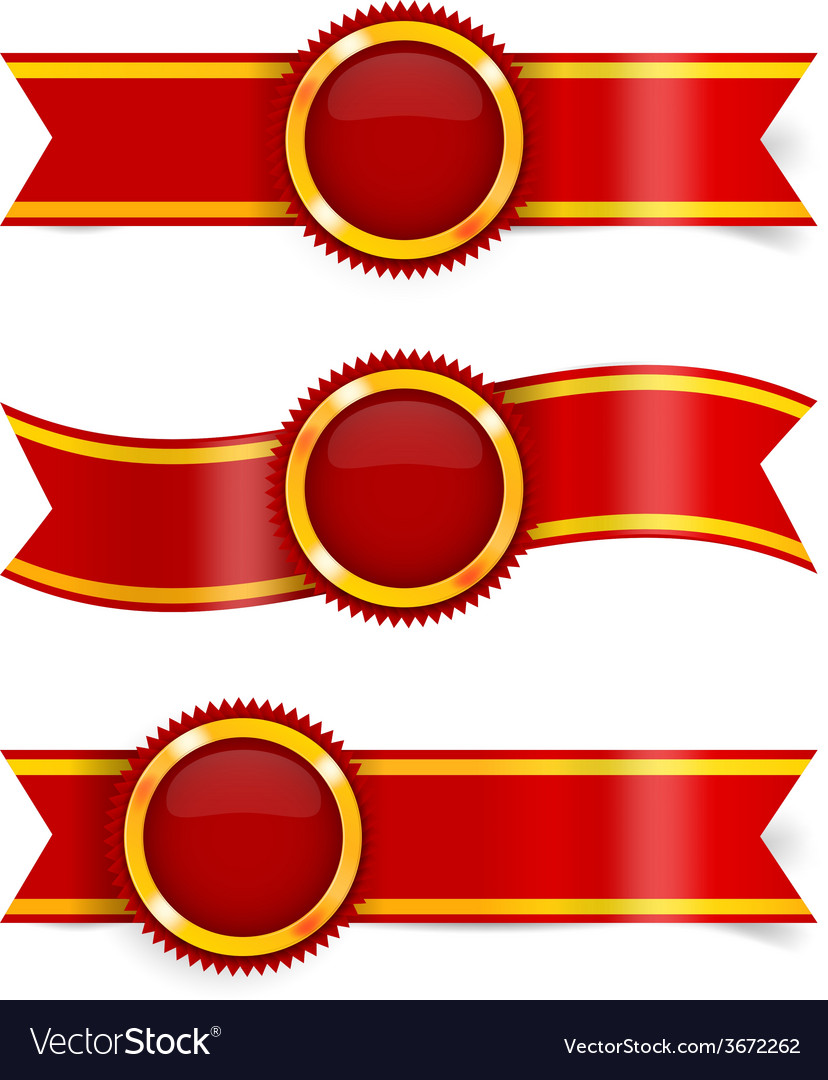 Set of red award ribbons vector | Price: 1 Credit (USD $1)