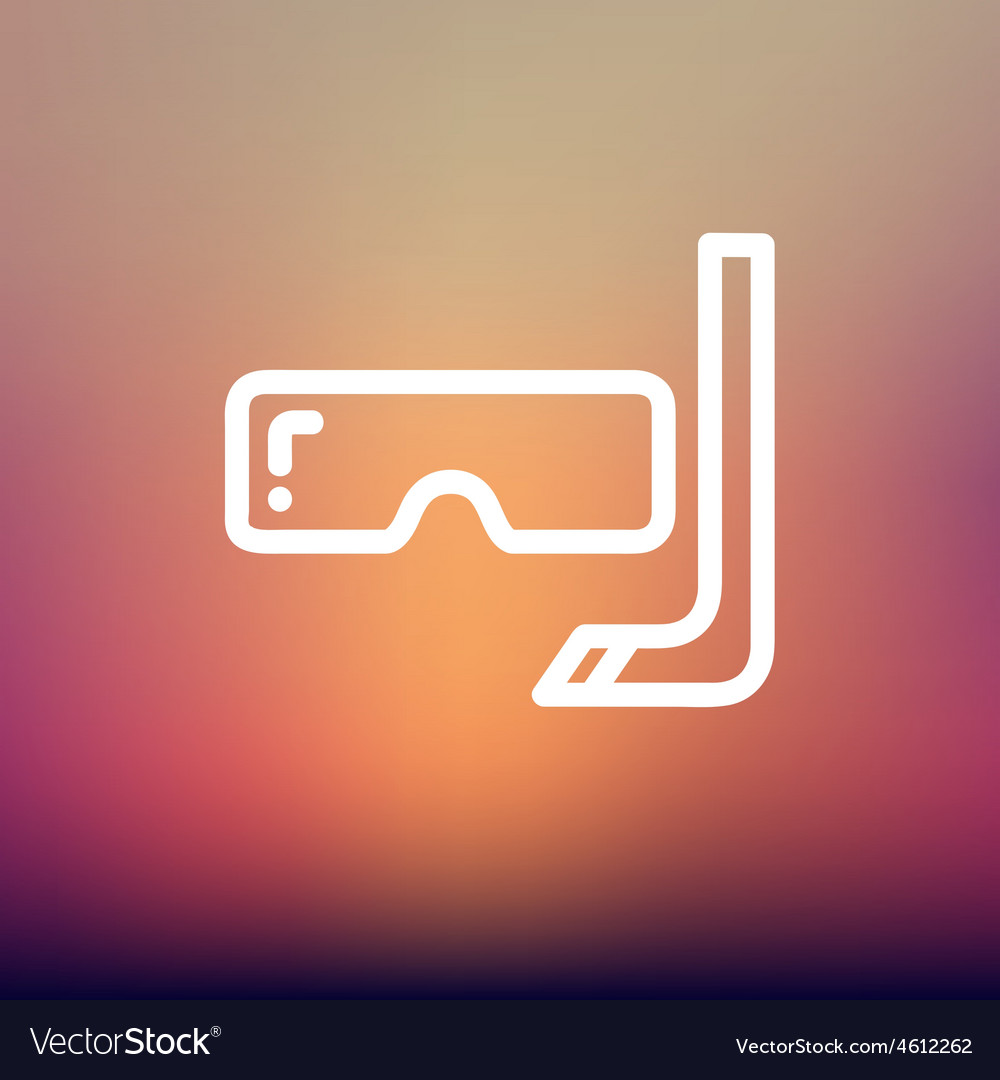 Snorkel and mask for diving thin line icon vector   Price: 1 Credit (USD $1)