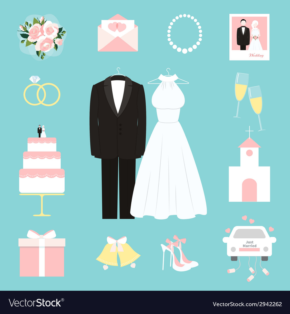 Suit and gown surrounded by wedding icons vector | Price: 1 Credit (USD $1)