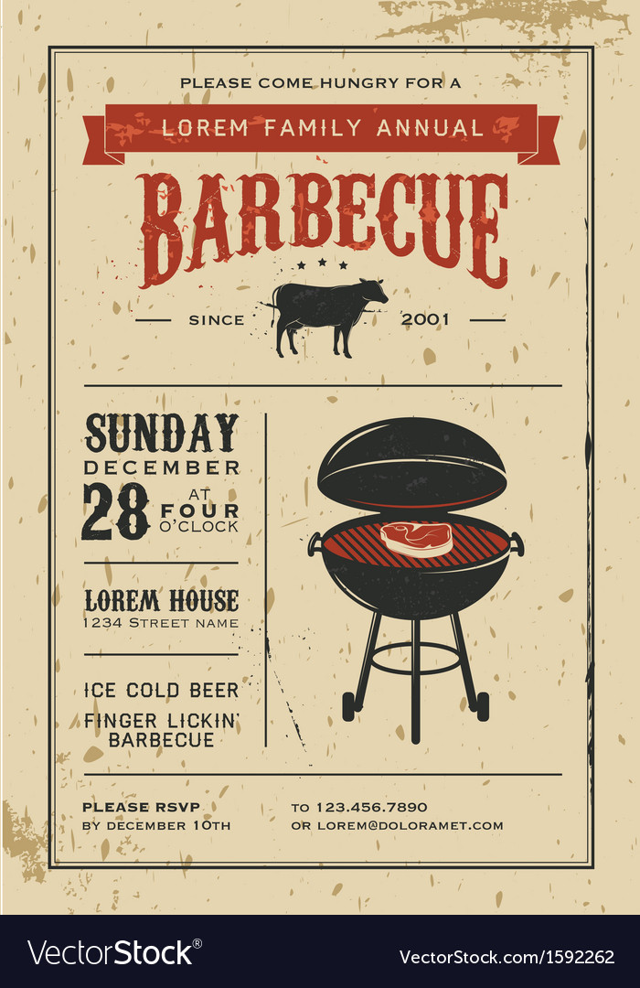 Vintage barbecue invitation card on old paper vector | Price: 1 Credit (USD $1)