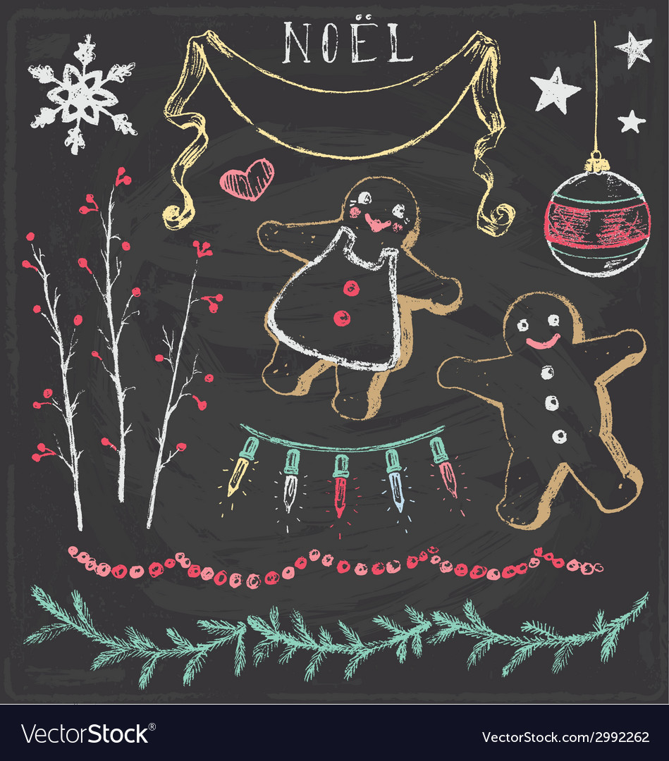 Vintage christmas chalkboard hand drawn set 6 vector | Price: 1 Credit (USD $1)
