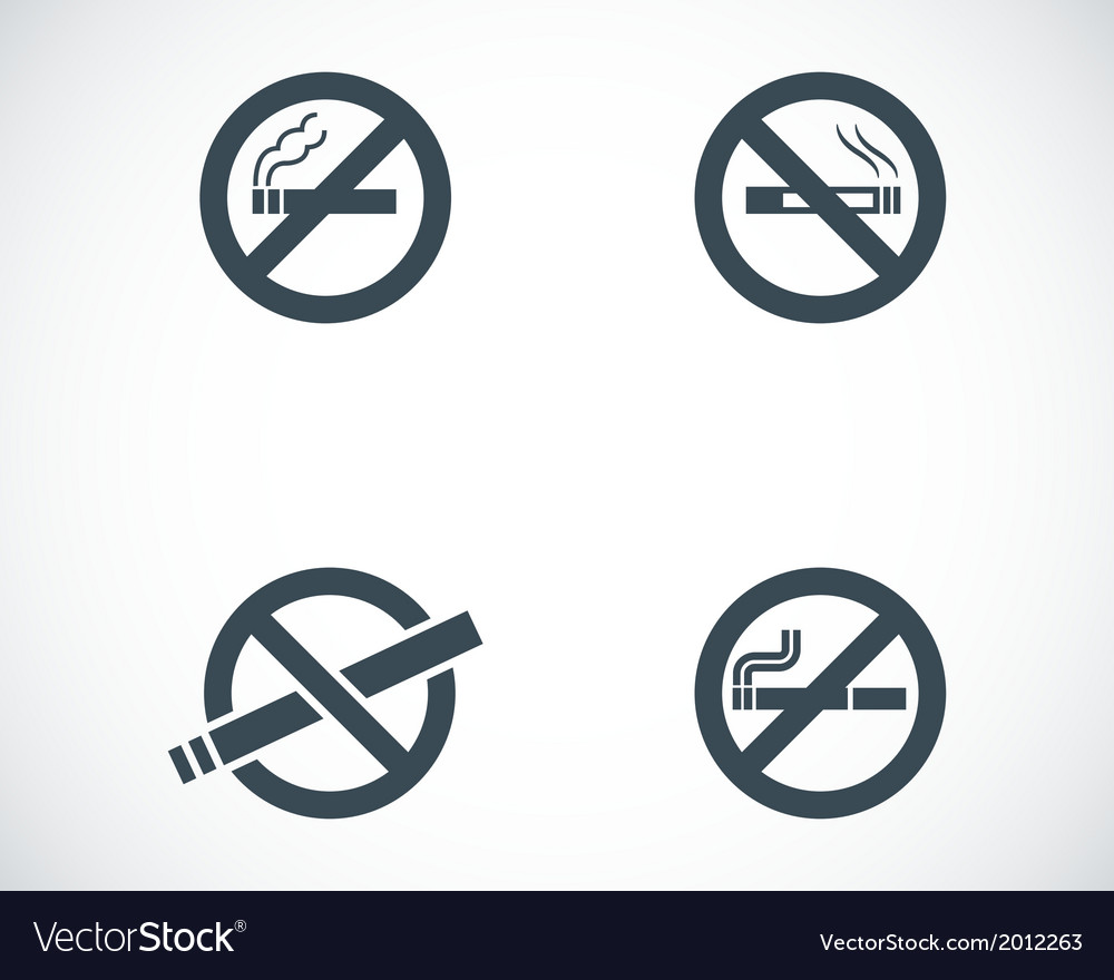 Black no smoking icons set vector | Price: 1 Credit (USD $1)