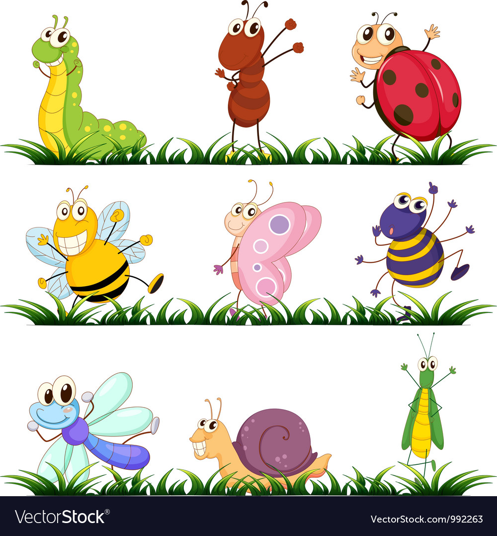 Cartoon insects set vector | Price: 1 Credit (USD $1)