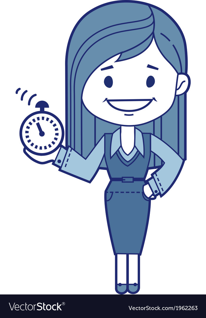 Character secretary with alarm clock vector | Price: 1 Credit (USD $1)