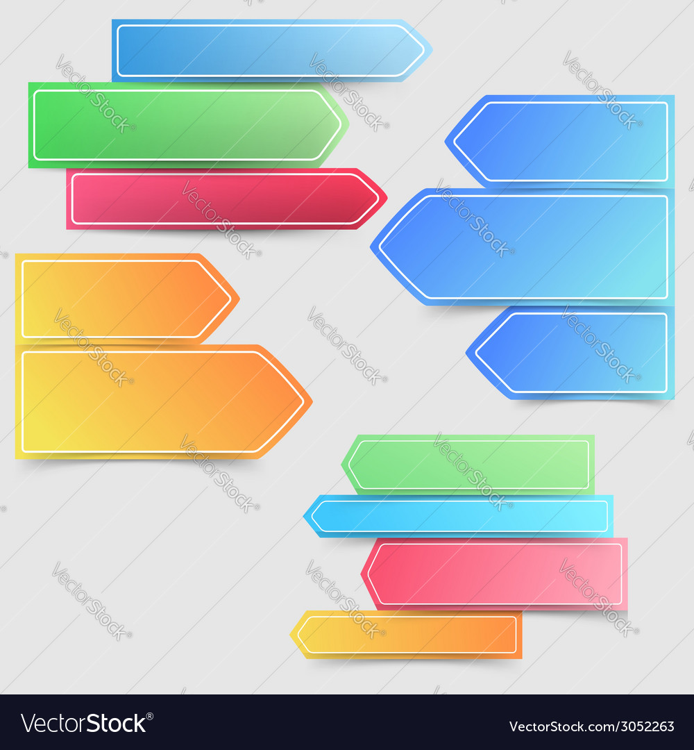 Collection of colorful bright infographics arrows vector   Price: 1 Credit (USD $1)
