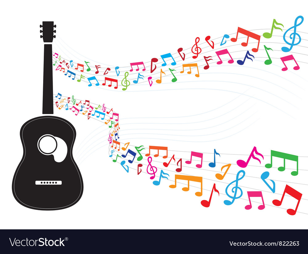 Colorful note floating from guitar vector | Price: 1 Credit (USD $1)