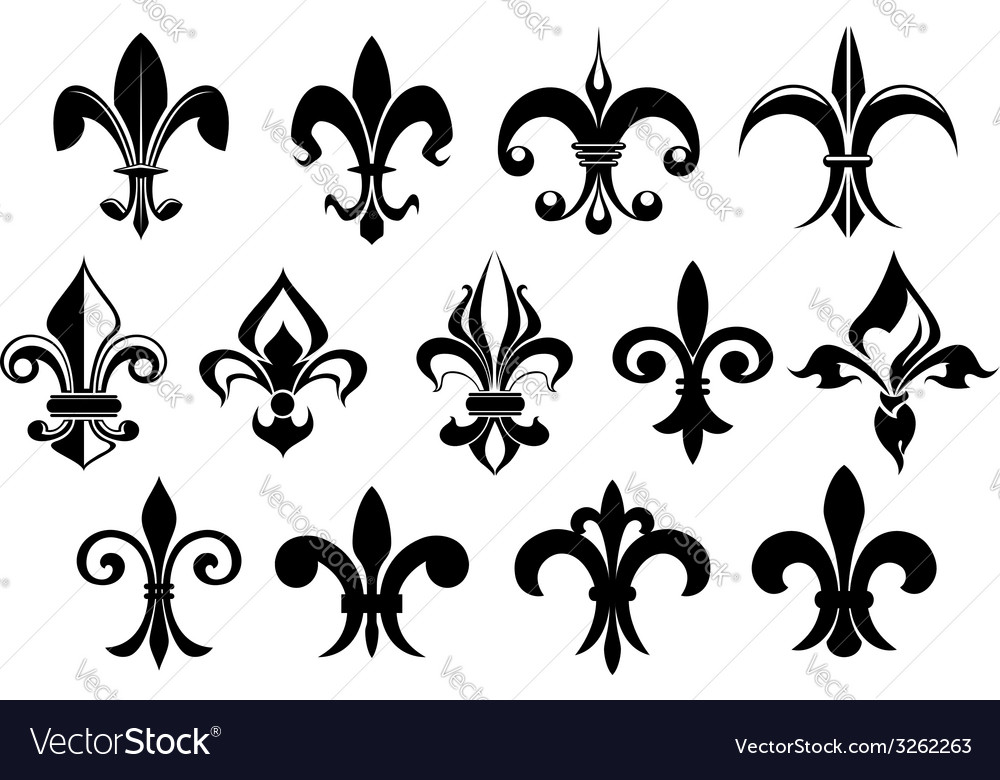 Fleur de lys vintage design elements vector | Price: 1 Credit (USD $1)