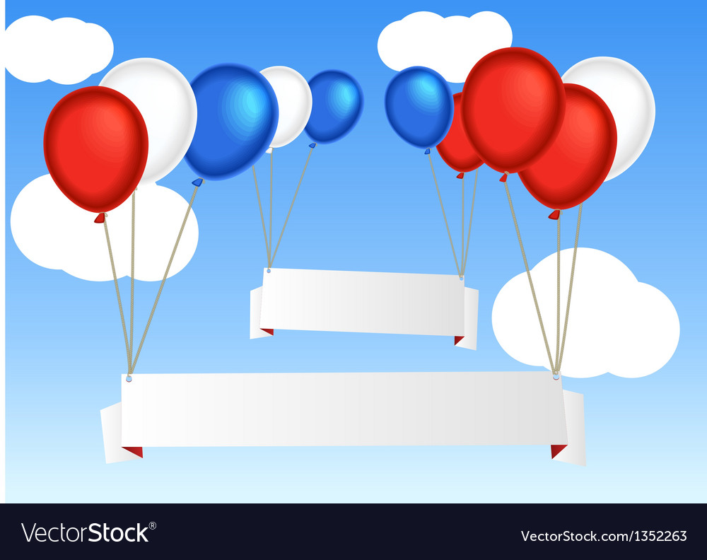 Group of flying air balloons with blank informatio vector | Price: 1 Credit (USD $1)