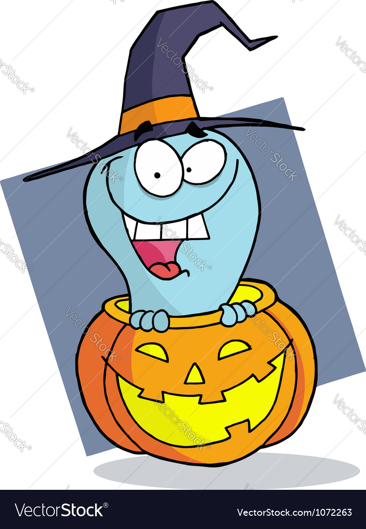 Happy blue ghost in a carved halloween pumpkin vector | Price: 1 Credit (USD $1)