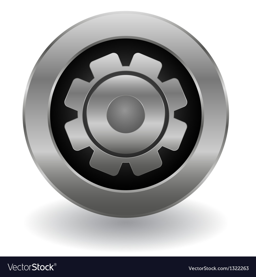 Metallic gear button vector | Price: 1 Credit (USD $1)