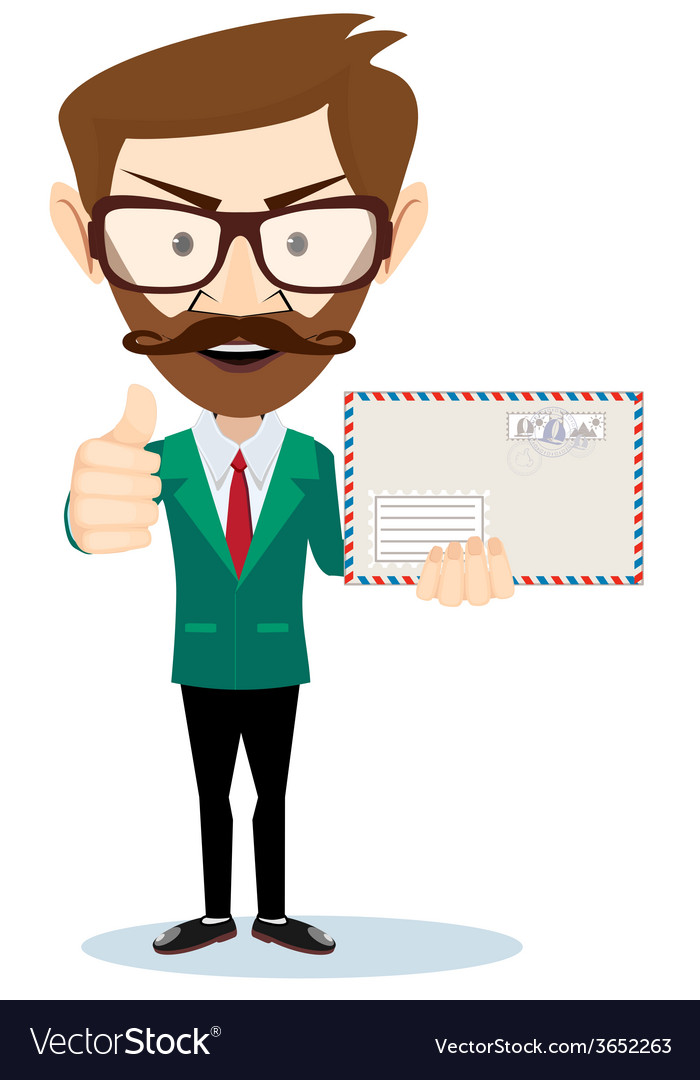 Office worker holding huge mailer envelope giving vector   Price: 1 Credit (USD $1)