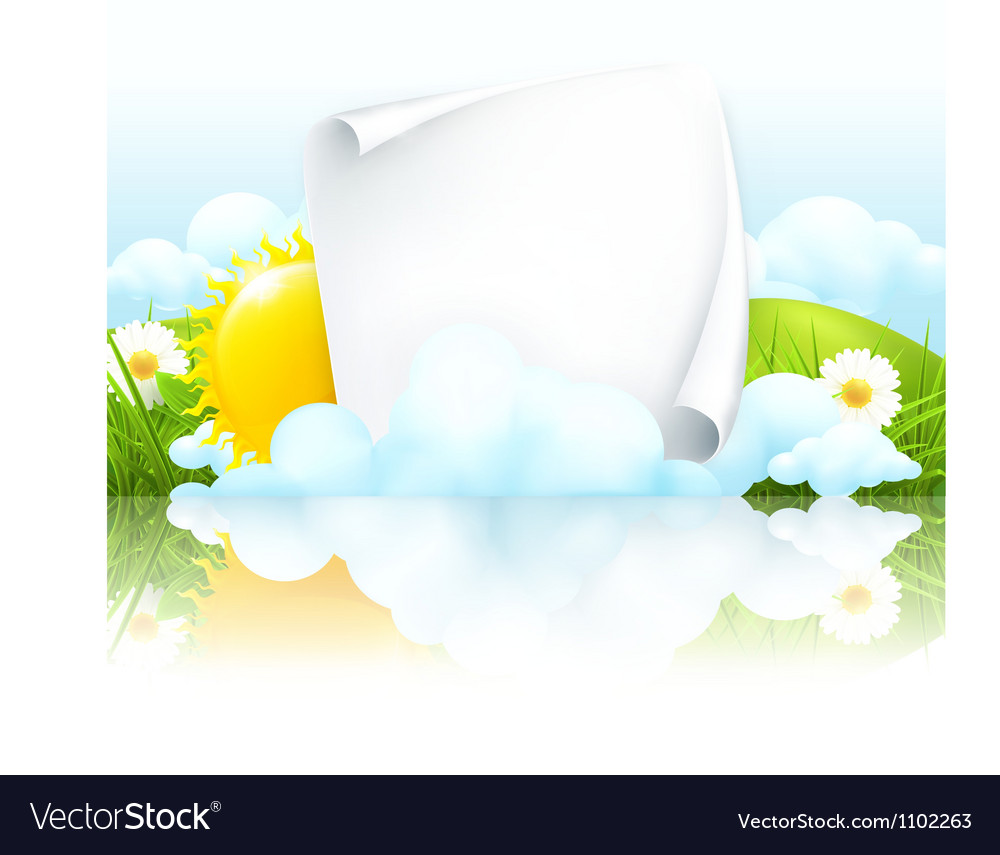 Paper frame in clouds vector | Price: 1 Credit (USD $1)