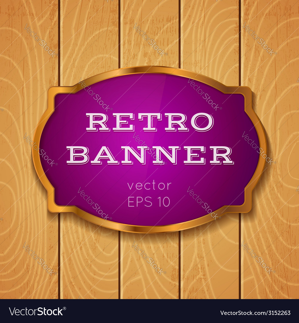 Purple banner on wooden background vector | Price: 1 Credit (USD $1)