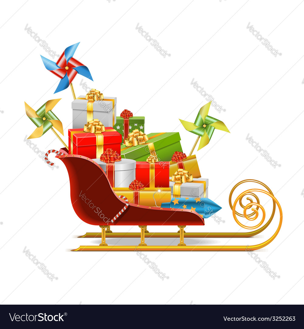 Sled with gifts vector | Price: 3 Credit (USD $3)