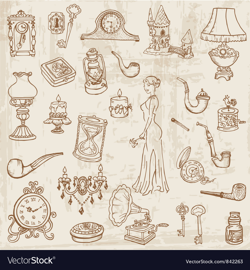Vintage doodle elements vector | Price: 1 Credit (USD $1)