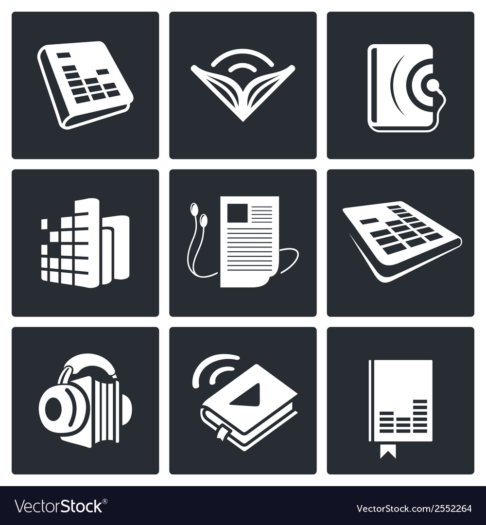 Audio book icons set vector | Price: 1 Credit (USD $1)