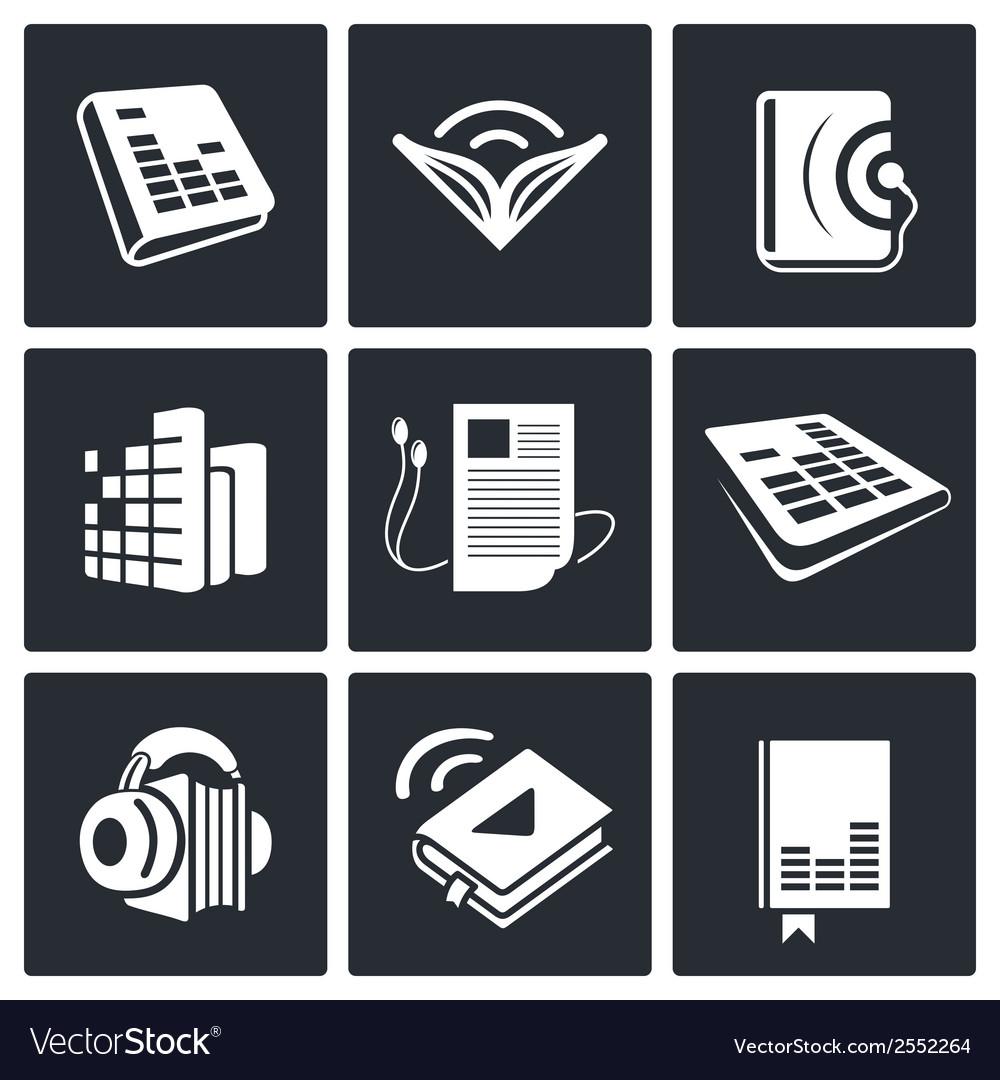 Audio book icons set vector | Price: 1 Credit (USD $1)