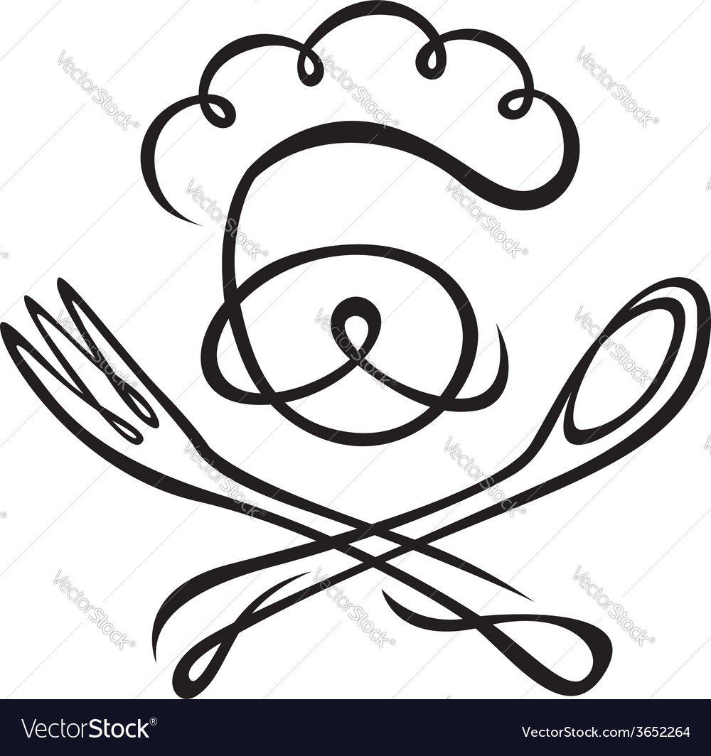 Chef with spoon and fork vector | Price: 1 Credit (USD $1)