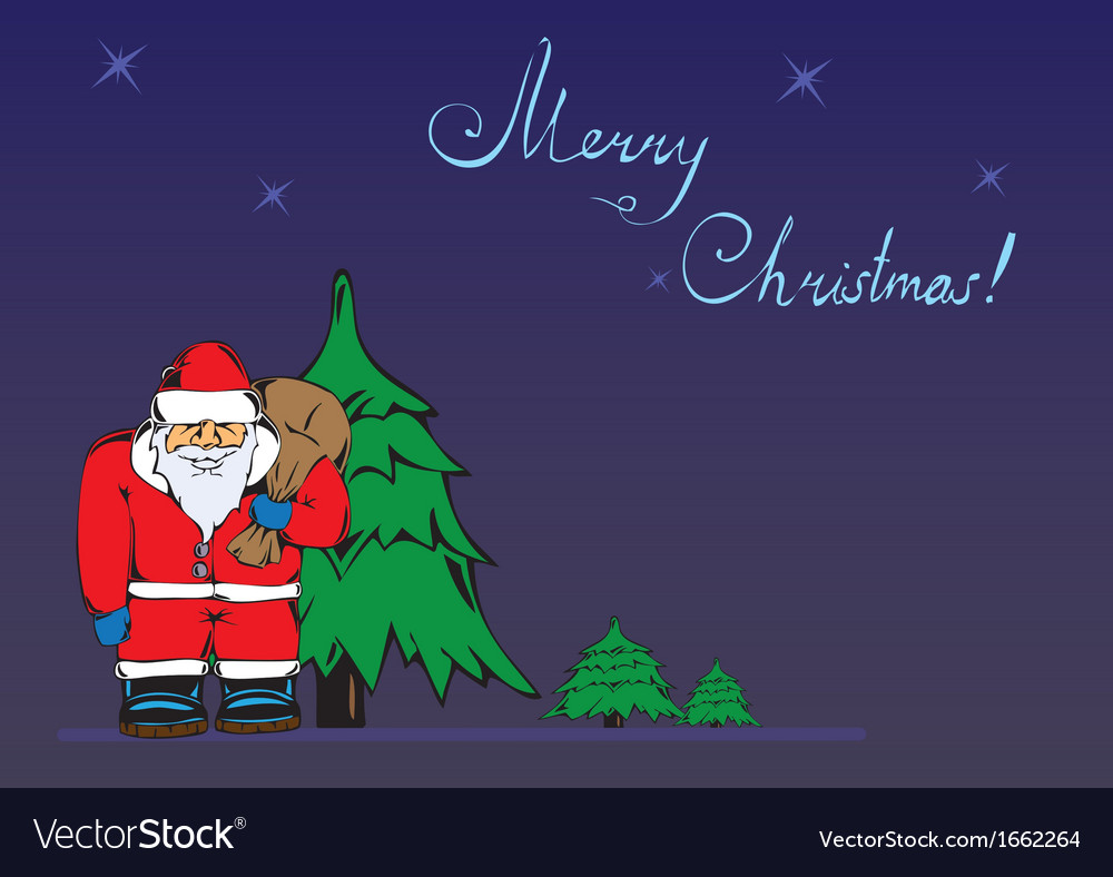 Christmas card with a picture of santa claus vector   Price: 1 Credit (USD $1)