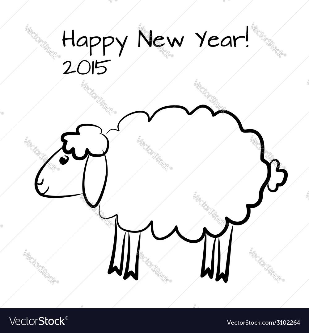 Christmas sheep outline vector | Price: 1 Credit (USD $1)