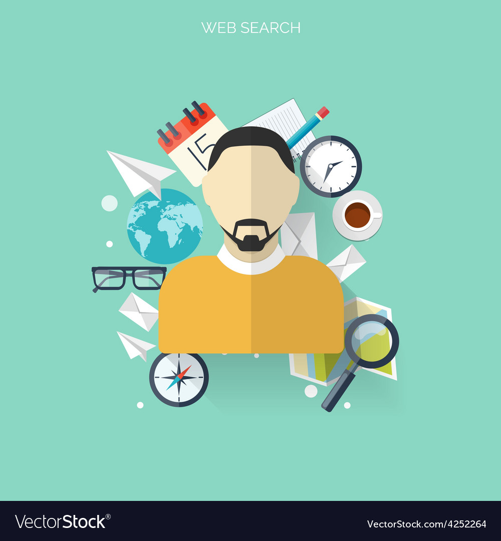 Flat travel background with male icon time and vector | Price: 1 Credit (USD $1)