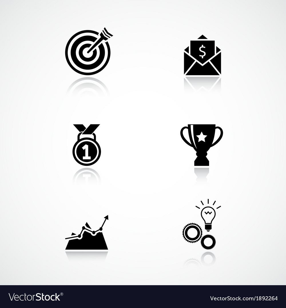Goal achievement icons set vector | Price: 1 Credit (USD $1)