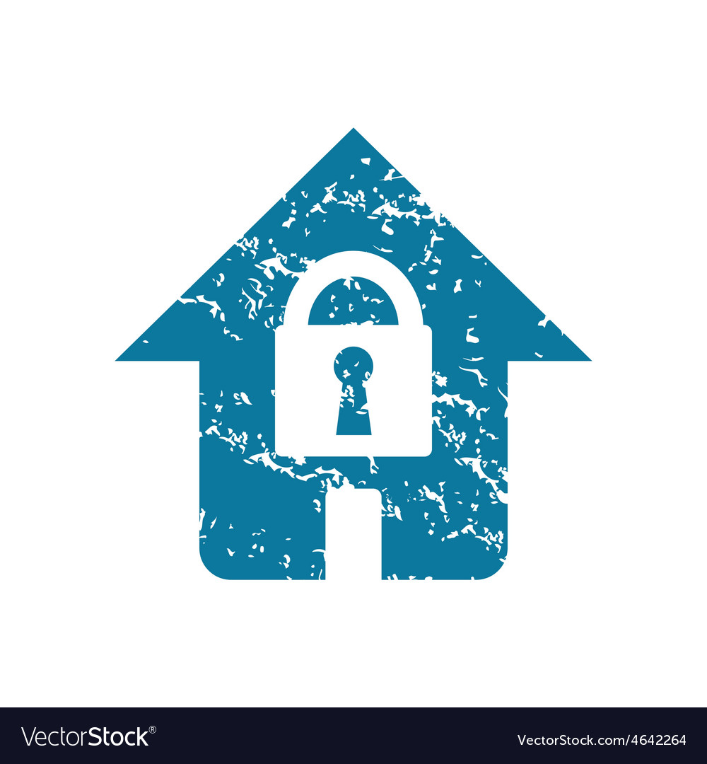Grunge locked house icon vector | Price: 1 Credit (USD $1)