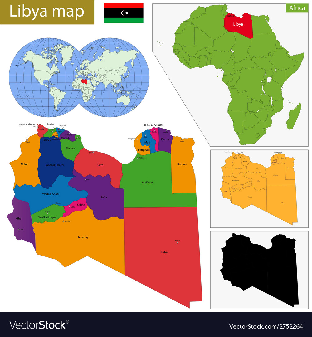 Libya map vector | Price: 1 Credit (USD $1)
