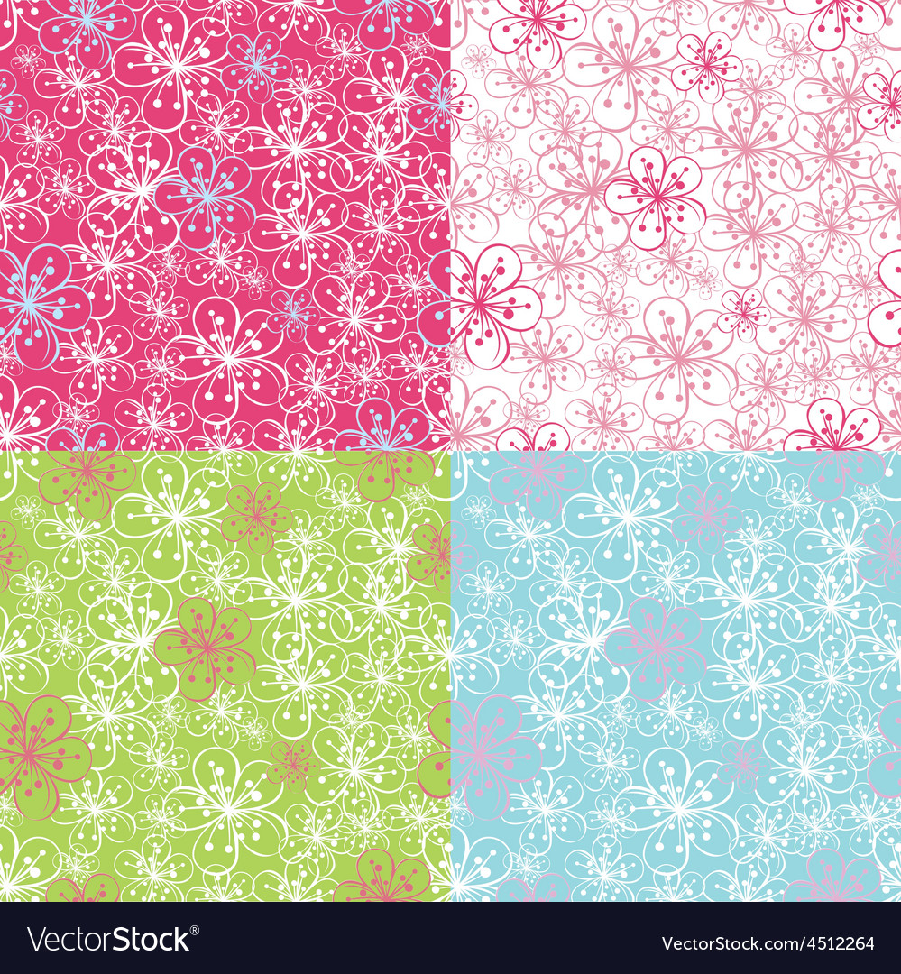 Outline cherry flowers backgroundspring seamless vector | Price: 1 Credit (USD $1)