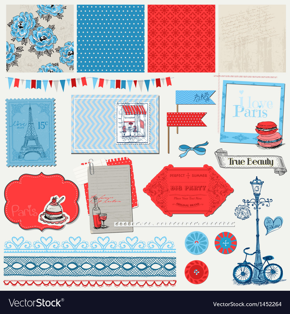 Paris vintage set vector | Price: 1 Credit (USD $1)
