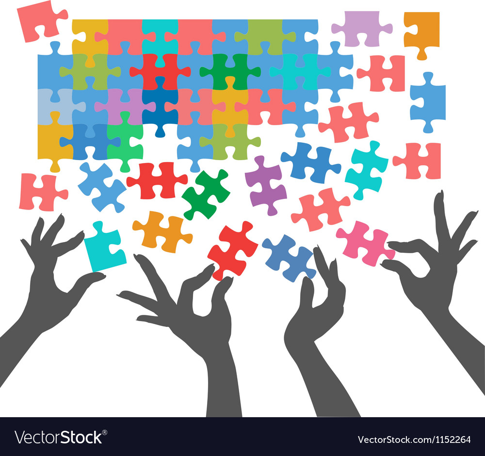People join to find puzzle connections vector | Price: 1 Credit (USD $1)