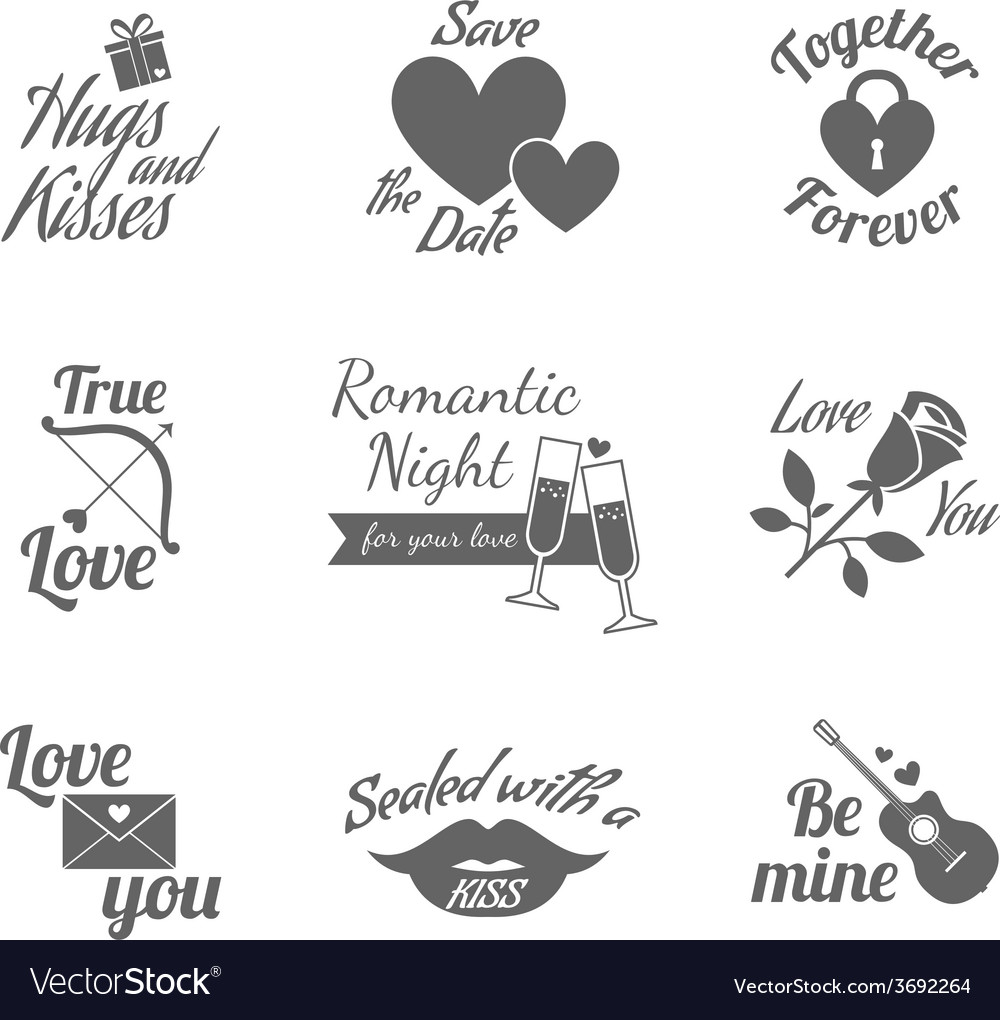 Romantic labels icons set vector | Price: 1 Credit (USD $1)