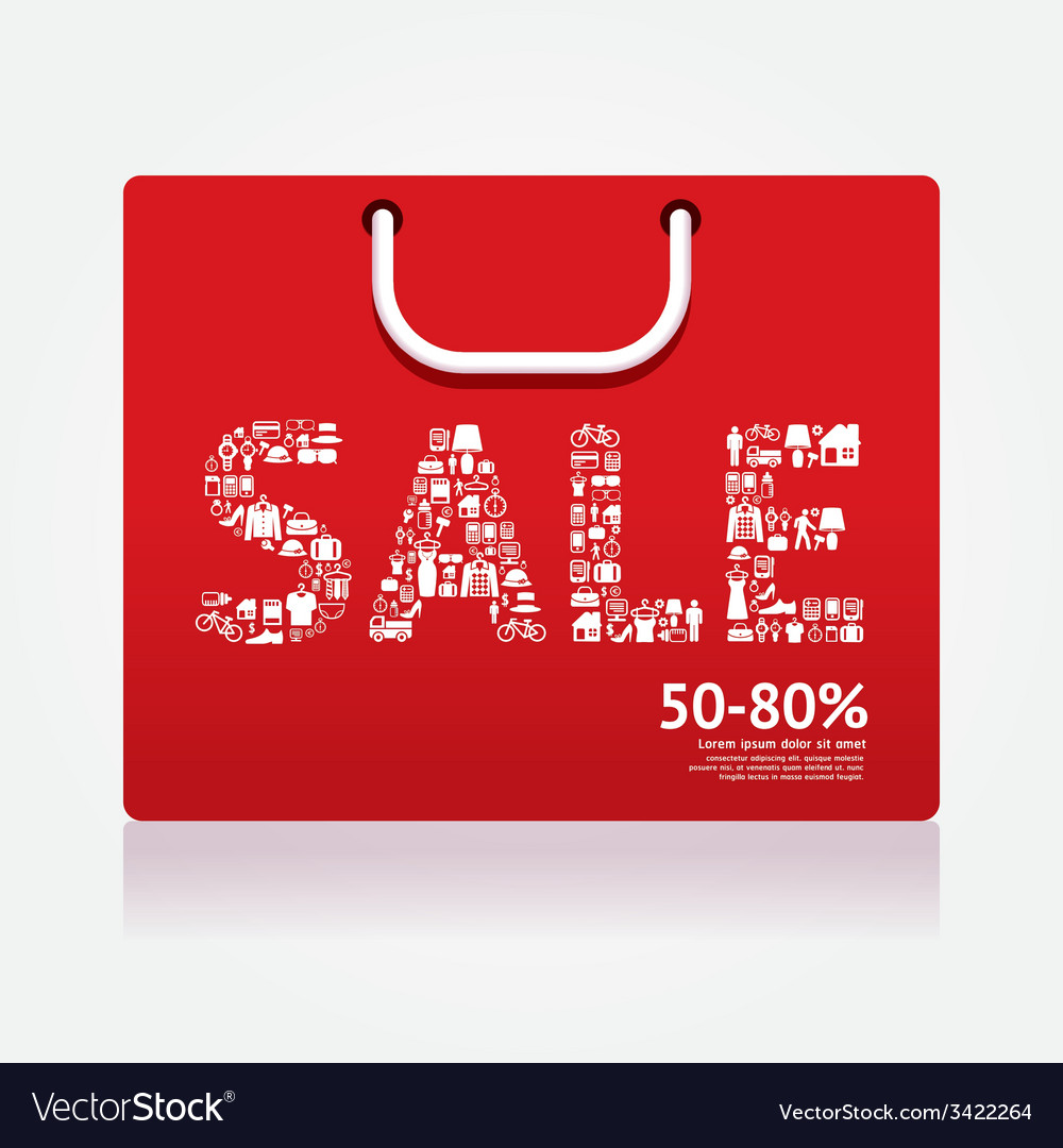 Sale discount shopping bag styled vector | Price: 1 Credit (USD $1)