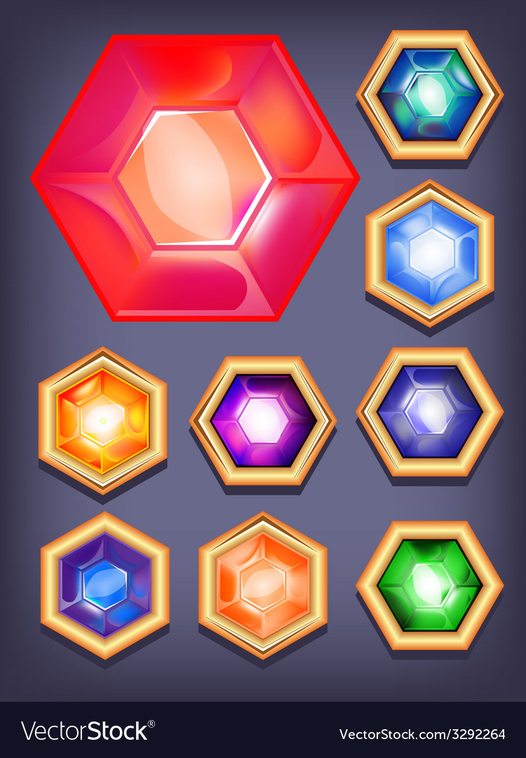 Set of colorful shiny jewels vector | Price: 1 Credit (USD $1)