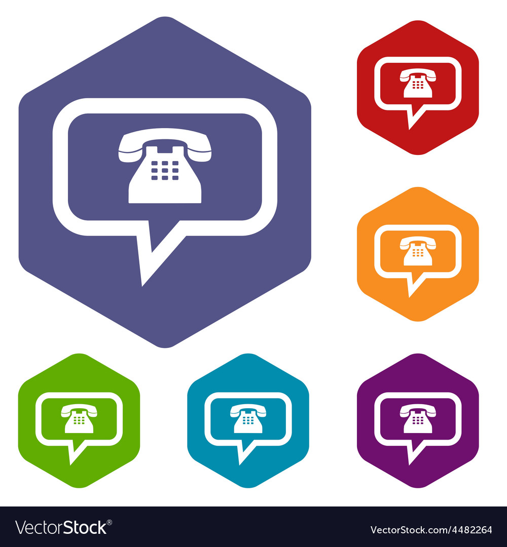 Telephone conversation rhombus icons vector | Price: 1 Credit (USD $1)