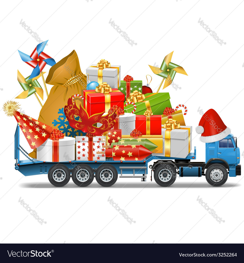 Trailer with christmas gifts vector | Price: 3 Credit (USD $3)