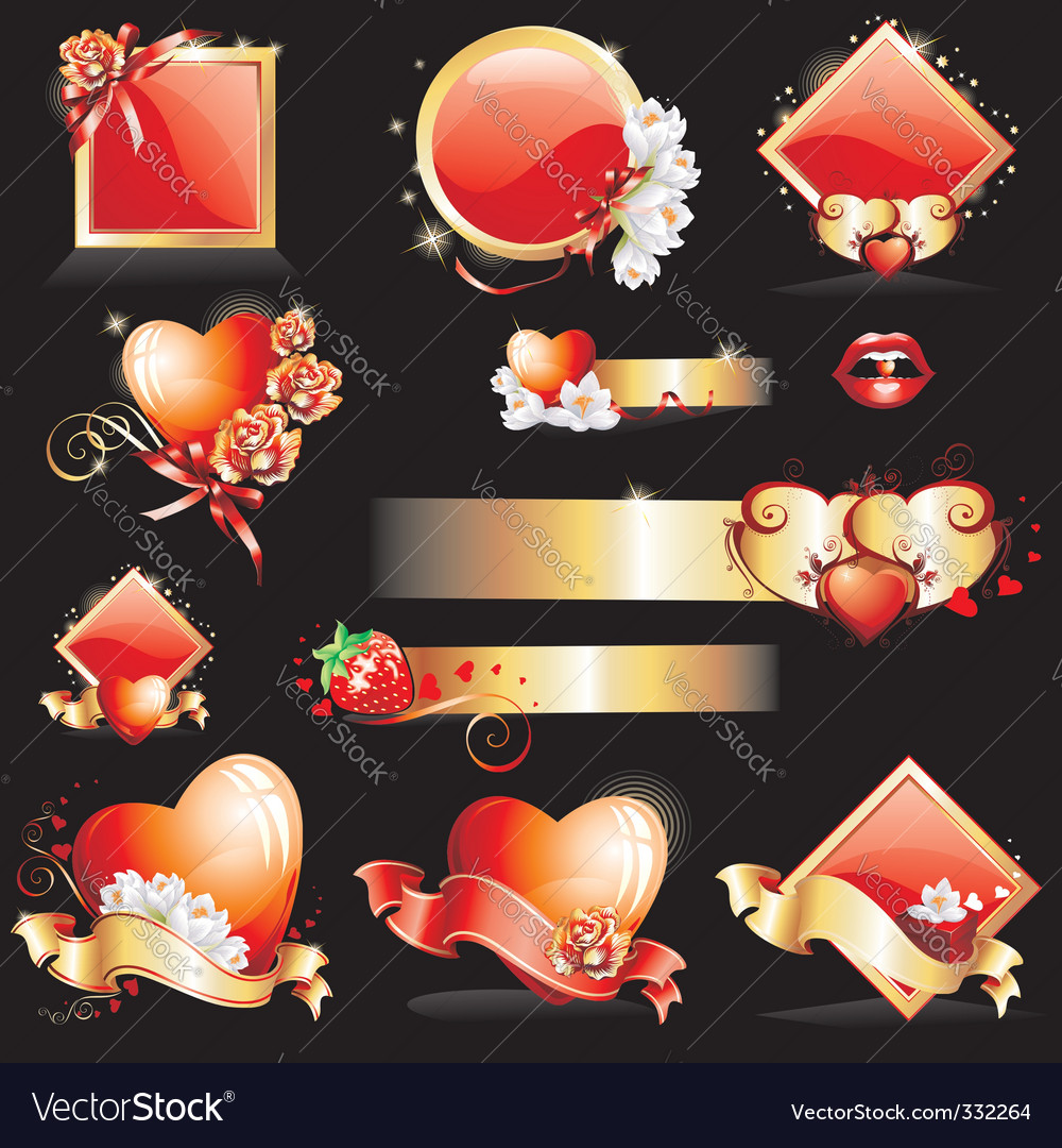 Valentines design elements vector | Price: 3 Credit (USD $3)