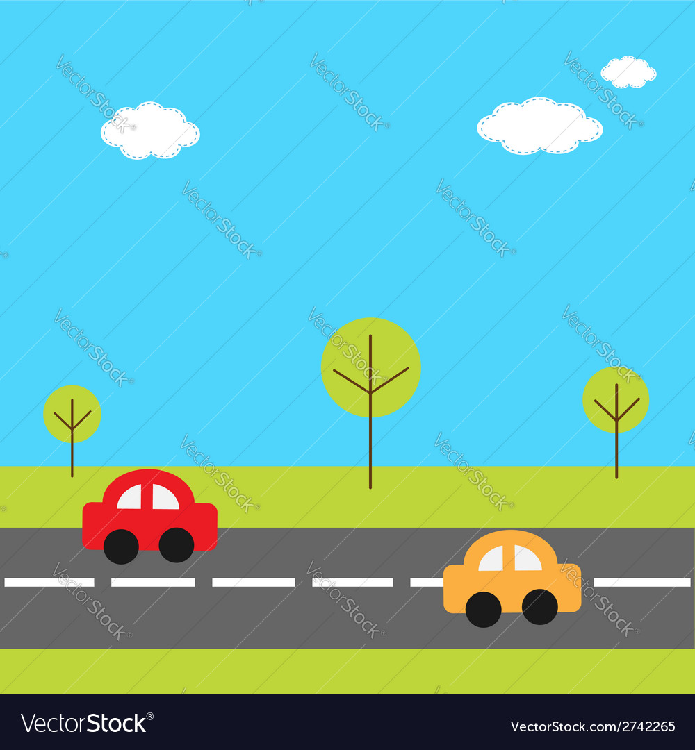 Background with grass trees road and cartoon cars vector | Price: 1 Credit (USD $1)
