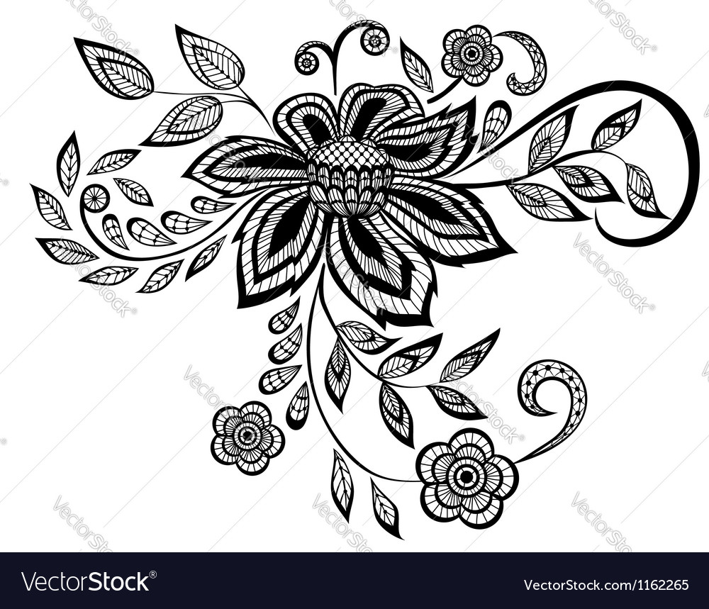 Black and white floral pattern design element vector | Price: 1 Credit (USD $1)