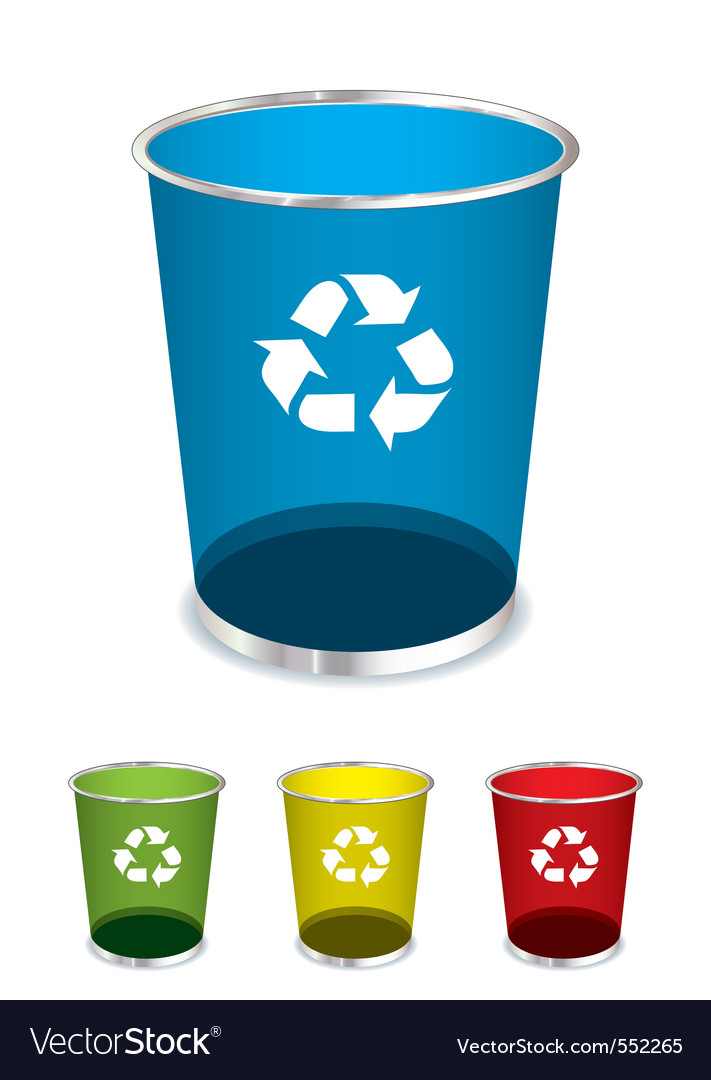 Bright glass recycle trash can icons or symbols vector | Price: 1 Credit (USD $1)
