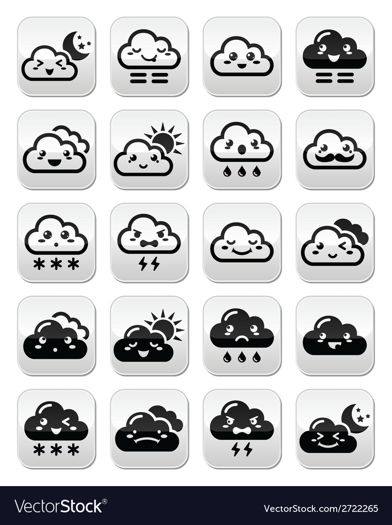 Cute kawaii clouds with different expressions - ha vector | Price: 1 Credit (USD $1)