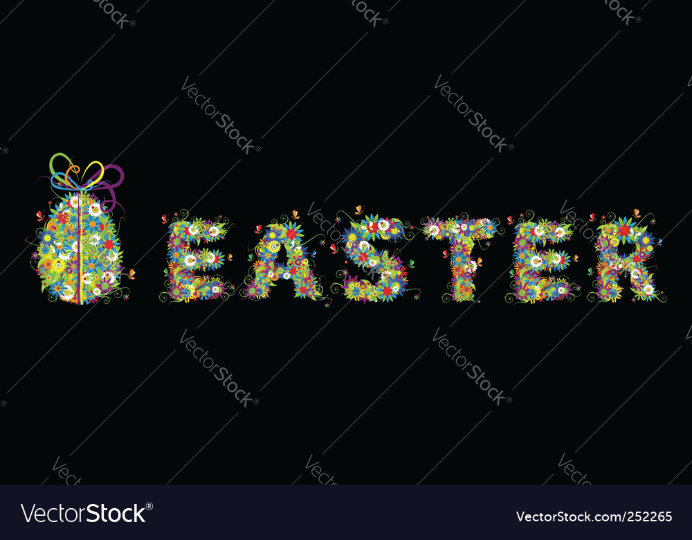Floral easter egg on black vector | Price: 1 Credit (USD $1)