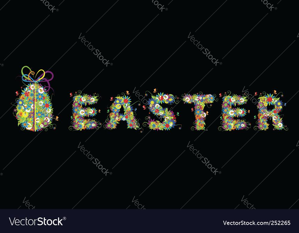 Floral easter egg on black vector | Price: 1 Credit (USD $1)