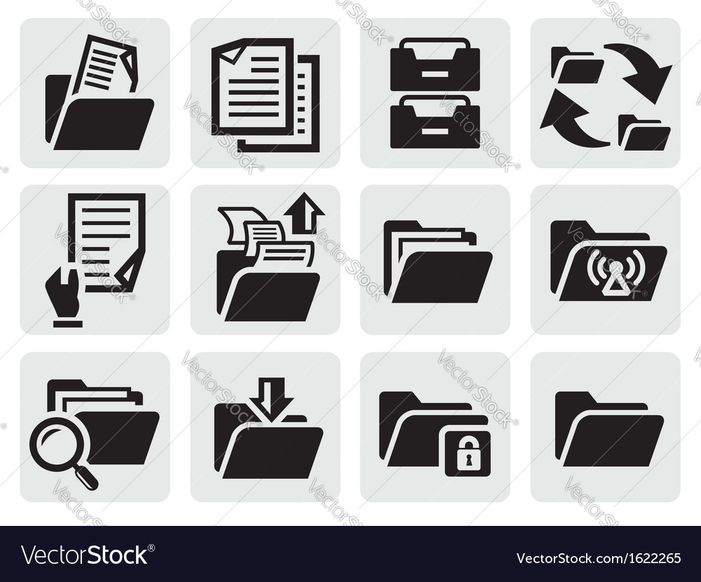 Folder icons set vector | Price: 1 Credit (USD $1)