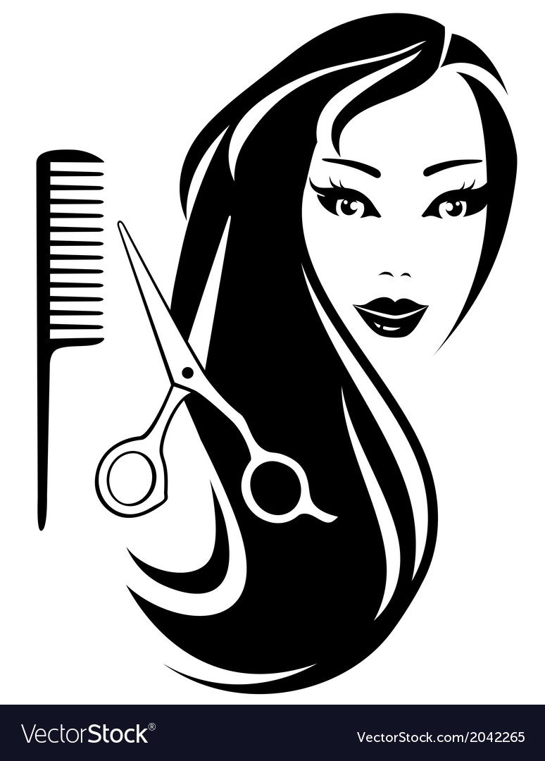 Girl with black long hair and scissors and comb vector | Price: 1 Credit (USD $1)